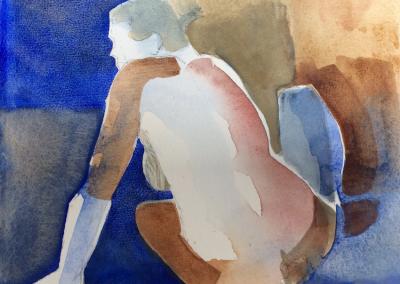 Kvinde på blå baggrund